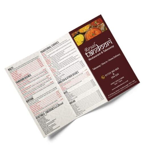 Takeaway menu printing
