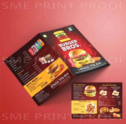 Burger Menu Printing UK